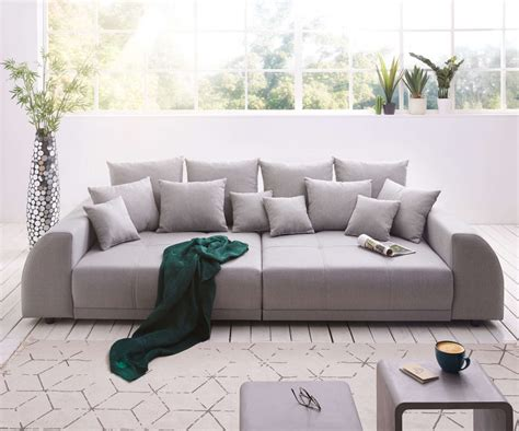 delife big sofa violetta  cm grau abgesteppt mit