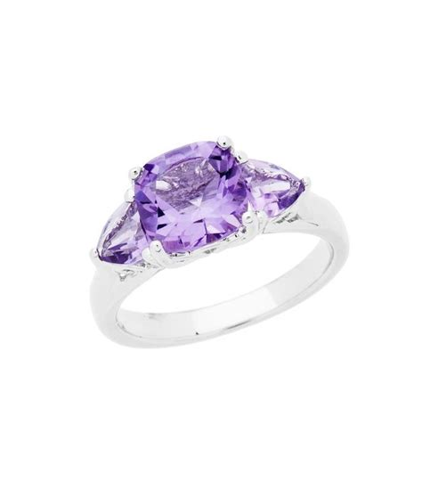 cushion cut 2 50ct amethyst ring 925 sterling silver amoro