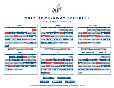 2017 mlb schedule dodgers open next season at home