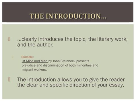 Of Mice And Essay Introduction by Of Mice And Literary Essay Writing