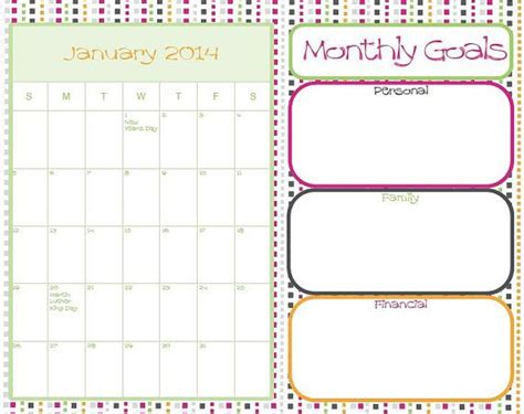 Arc Calendar 2014 Dated Calendar Monthly Goals With Holidays For Arc