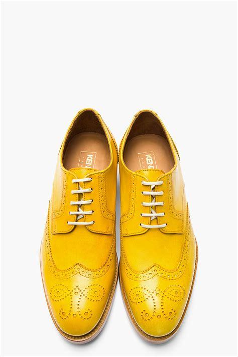 mens yellow boots s metallic mustard yellow leather elliott wingtip