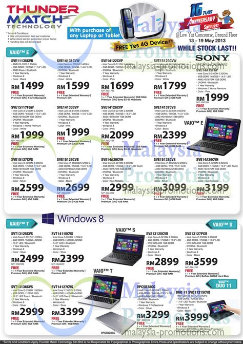 Asus Brand Laptop Price In Malaysia 14 may sony vaio notebooks e t s series 187 thunder match technology anniversary promo offers
