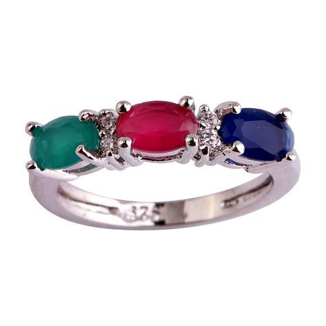 aliexpress rings lingmei women rings fashion oval cut multi color silver