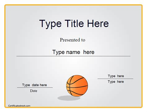 Certificate Street Free Award Certificate Templates No Registration Required Basketball Award Templates
