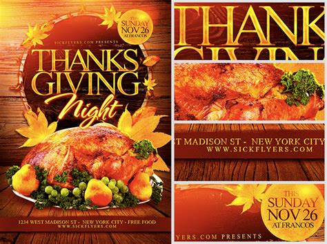 free templates for thanksgiving flyers thanksgiving night flyer template flyerheroes