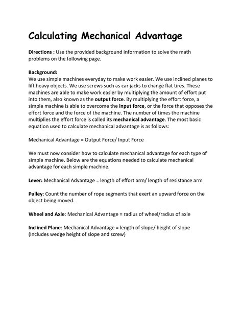 Calculating Mechanical Advantage Worksheet With Answers by 14 Best Images Of Simple Inclined Plane Worksheet