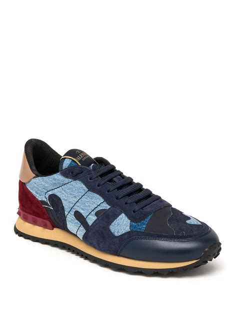 valentino camo sneakers valentino rockrunner denim camo studded sneakers in blue