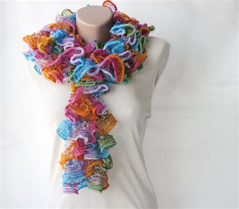 how to knit a frilly scarf knit frilly scarf rainbow colors on luulla