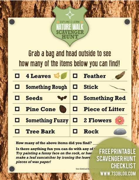 printable toddler scavenger hunt nature walk scavenger hunt free printable