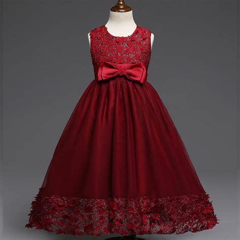 Dress Princess Kid Maroon Mint transparent floral hem children lace princess dresses formal flower dresses burgundy