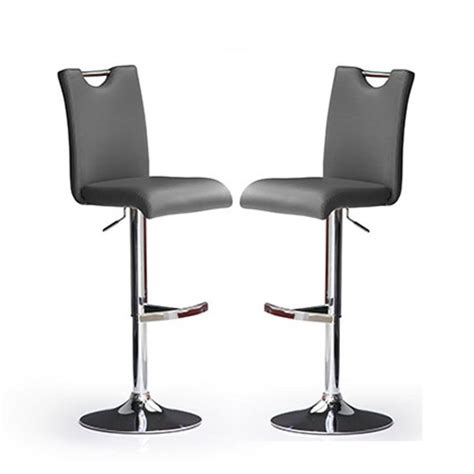 Grey Faux Leather Bar Stools by Bardo Bar Stools In Grey Faux Leather In A Pair 23110