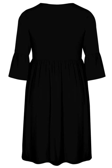 Gap Branded Flute Dress Limited Collection Black Jersey Dress With Flute Sleeves