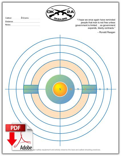 Printable Shooting Targets Oklahoma 2nd Amendment Association Shooting Target Template