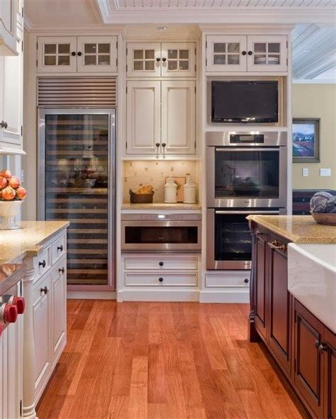 tv above refrigerator kitchen ideas pinterest double oven tv sub zero wine cabinet microwave warming