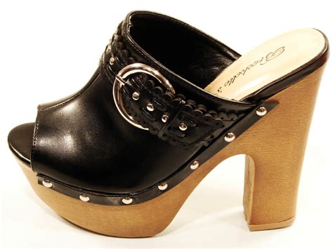high heel clogs for breckles high heel wood platform slip on clogs black ebay