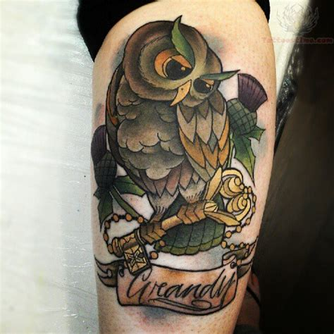 owl tattoo with key meaning owl with golden key tattoo