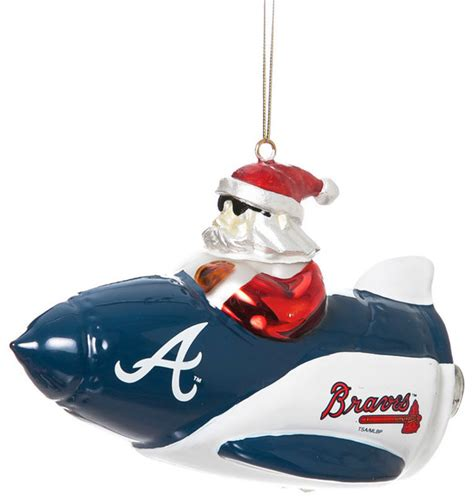 atlanta braves glass rocket santa christmas ornament