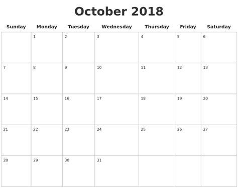 printable calendar october 2018 october 2018 blank calendar pages