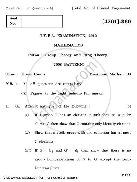 Mathematics Gp Essay by Question Paper Mathematics General Paper 3 Theory And Ring Theory 2012 2013 Ba