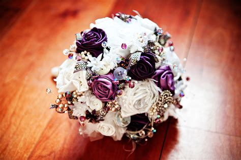 flower wedding brooches purple and ivory bridal brooch and button bouquet onewed