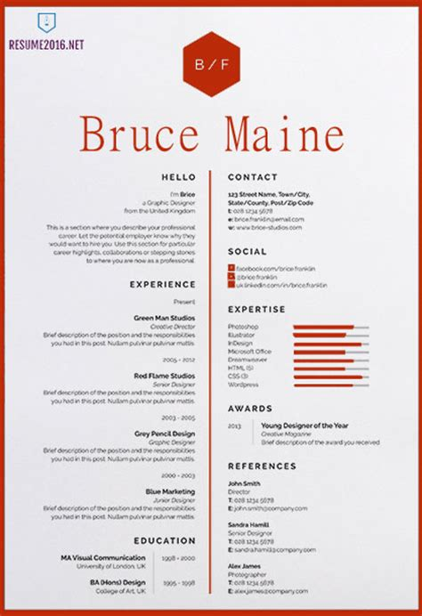 Awesome Resume Templates by 20 Awesome Resume Templates 2016 Get Employed Today