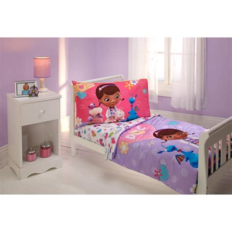 toddler bed set disney doc mcstuffins 4 toddler bedding set walmart