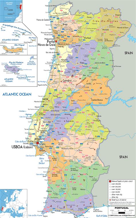 map of azores detailed political map of portugal ezilon maps