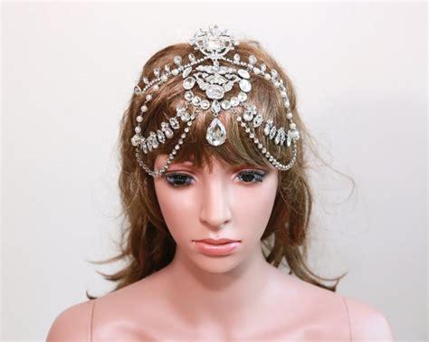 Vintage Bridal Hair Chain by Rhinestone Bridal Tikka Vintage Wedding Hair
