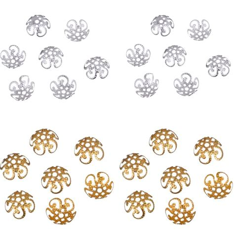 Bunchem 200 Pcs 1 מוצר new 100 pcs 200 pcs lot 2015 high quality diy gold silver plated hollow flower metal