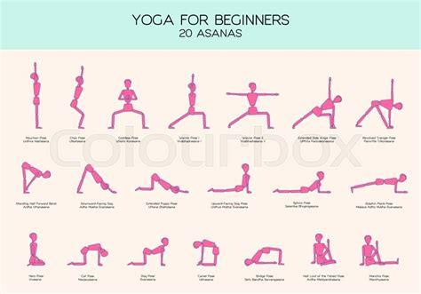 vector set of stick figures doing asanas for beginners gymnastics
