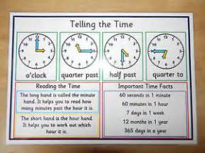 telling the time a4 poster time facts ks1 ks2