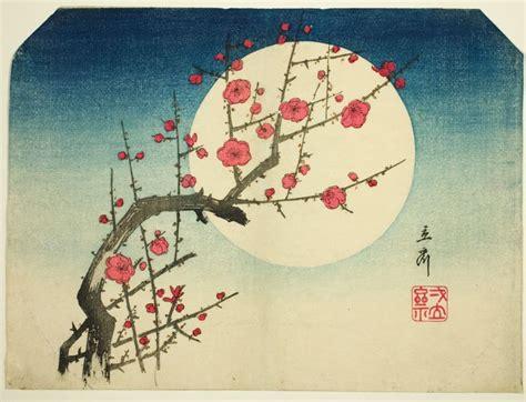 cherry blossom grasses moon and plum blossom painting utagawa hiroshige japanese 1797 1858 a red plum branch