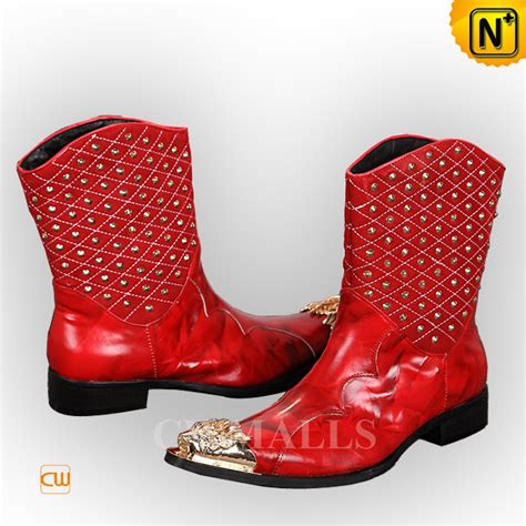 Comfortable Boots For Men Cwmalls 174 Mens Red Leather Cowboy Boots Cw706352