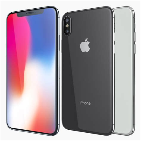 3 Iphone X Models by Apple Iphone X White 3d Model Turbosquid 1203013