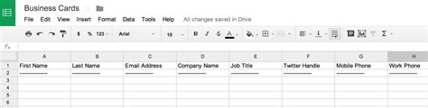 Business Card Template Excel by How To Scan Business Cards Into A Spreadsheet
