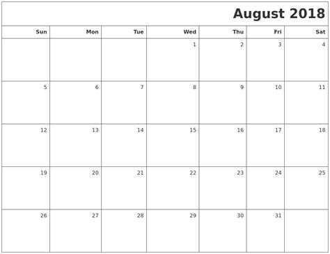 printable calendar august 2018 april 2018 month calendar