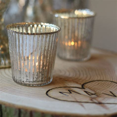 tea light holder ribbed mercury glass tea light holder by the wedding of my