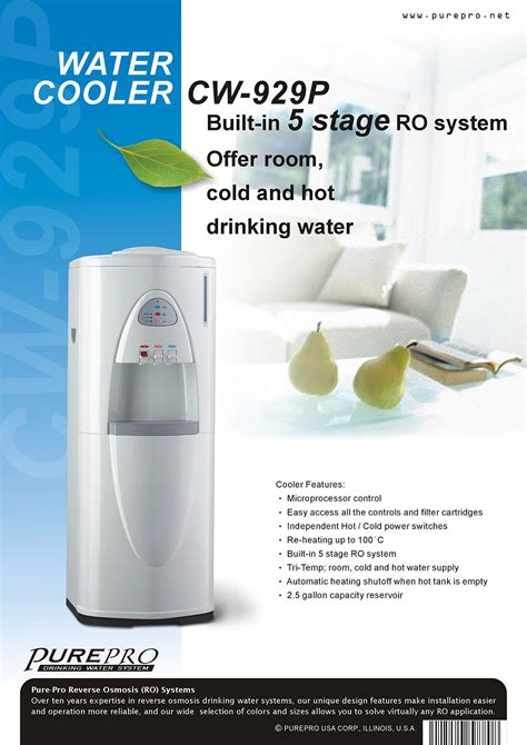 Water Dispenser With Ro purepro 174 osmosis water cooler cw929p