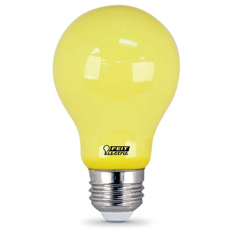 yellow led light bulbs feit electric 60w equivalent a19 yellow led bug light bulb