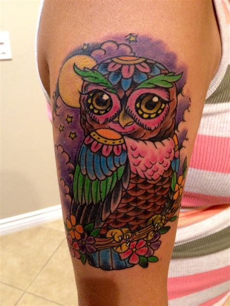 hb tattoo my awesome new school owl thanks