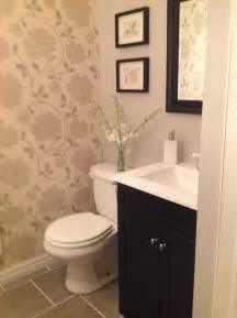 Powder room makeover love the idea of one wall of paper with