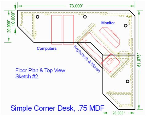 corner desk design plans woodware simple corner computer desk 0 75 quot mdf