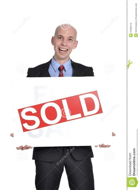 libro sold one womans true real estate man holding a for sale sign stock image cartoondealer com 37962691
