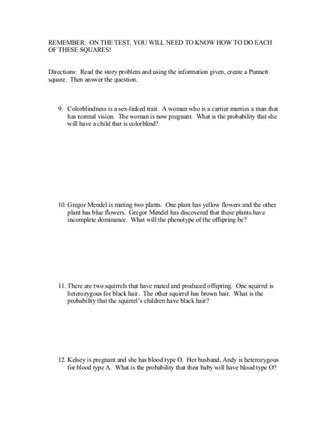 punnett square review worksheet punnett squares review worksheet