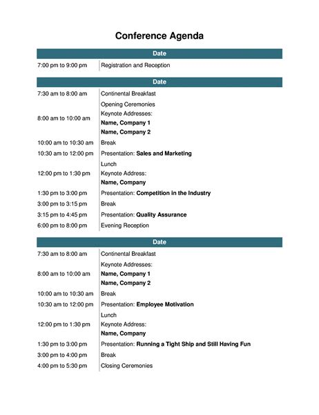 conference meeting agenda template conference agenda office templates
