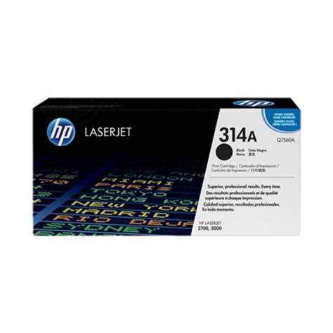 Toner Hp 314a Q7560a Black Original hewlett packard q7560a 314a black toner cartridge
