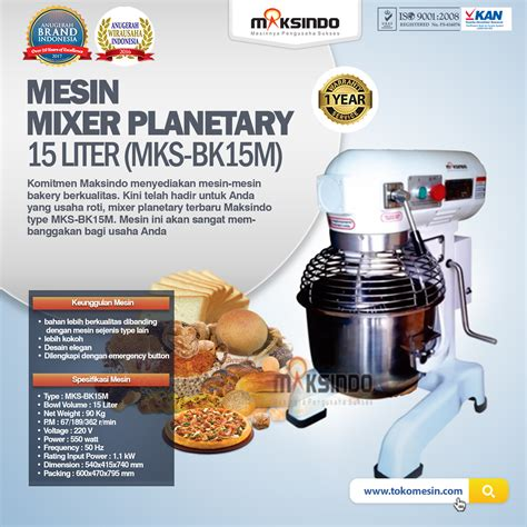 Mixer Audio Di Semarang jual mixer planetary 15 liter new high quality mks bk15m
