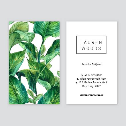 tropical card template tropical business card design