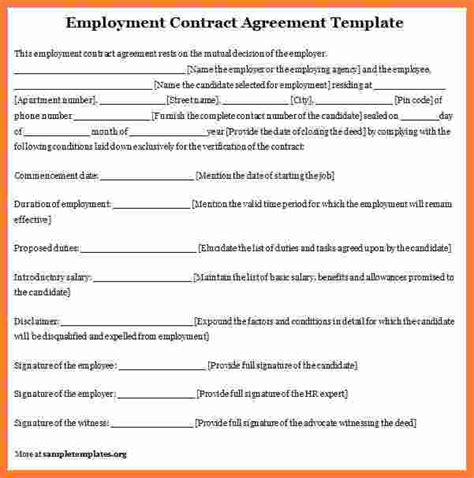 employers contract template 4 employee contract template marital settlements